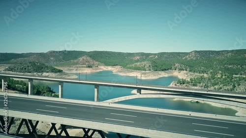 Fototapeta Aerial view of higway and railway arched bridges