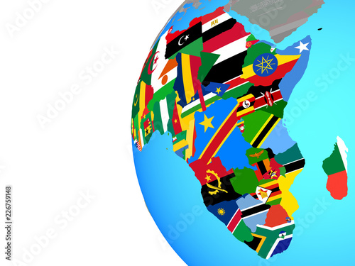 Africa with embedded national flags on blue political globe.