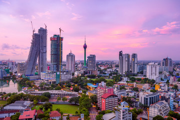 Colombo Sri Lanka skyline cityscape photo. Sunset in Colombo with views over the biggest city in Sri Lanka island. Urban views of buildings and the Laccadive Sea   © mbrand85