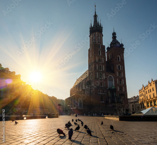 Cloth's Hall and Saint Mary's Church at Market Square in Krakow, Poland, Europe