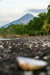 View of the Concepcion Volcano with blurred foreground in the Ometepe Island, Nicaragua.