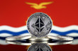 Quadro Physical version of Ethereum (ETH) and Kiribati Flag. Conceptual image for investors in cryptocurrency, Blockchain Technology, Smart Contracts, Personal Tokens and Initial Coin Offering.