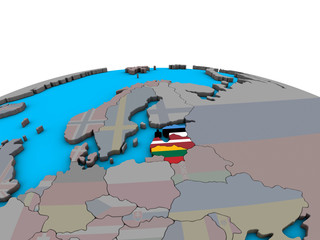 Baltic States with embedded national flags on political 3D globe.