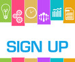 Sign Up Colorful Stripes Symbols
