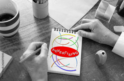 Advertising concept on a notepad
