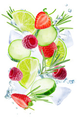 Lime, cucumber, strawberry, raspberry and rosemary flying with ices and water splash isolated