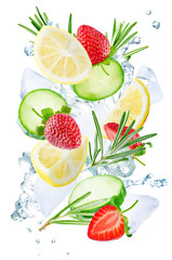 Lemon, cucumber, strawberry and rosemary flying with ices and water splash isolated