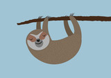 cute sleepy sloth hanging on tree branch vector illustration