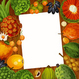 Cooking recipe note with tropical fruits - 226782784