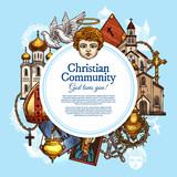 Christian religious community, vector symbols