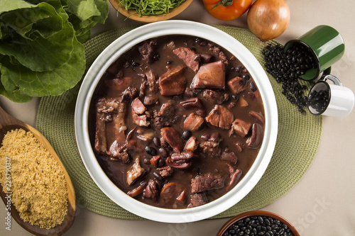 Brazilian Feijoada Food. Top view with copy space. - 226790317
