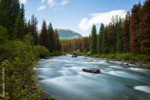 Foto Murales Herbstlicher Flusslauf langzeitbelichtet