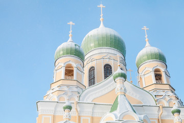 Domes of Saint Isidore Church in winter