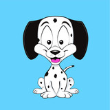 Dalmatian puppy smiling. Cartoon style. Isolated on blue background.