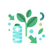 Eco friendly battery, ecology concept, eco friendly technologies vector Illustration on a white background
