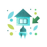Eco house, contemporary energy efficient building vector Illustration on a white background - 226798929