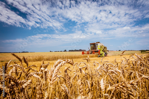 Leinwanddruck Bild Combine harvesters Agricultural machinery. The machine for harvesting grain crops.