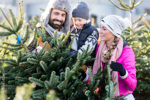 Leinwanddruck Bild Family buying Christmas tree on market taking it home