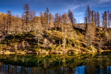 beautiful mountain lake landscape - autumn season