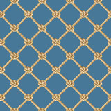Seamless pattern, background, yellow rope woven in the form fishing net, isolated on blue background