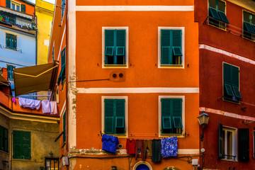 Colorful houses in Riomaggiore village Italy