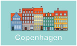 Flat style vector illustration of the city of Copenhagen, Denmark with colorful buildings. Old European city with pastel colored building facades.   - 226823959