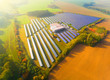 Leinwanddruck Bild - Aerial view to solar power plant. Industry and renewable resources theme.