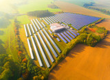 Aerial view to solar power plant. Industry and renewable resources theme. - 226825713