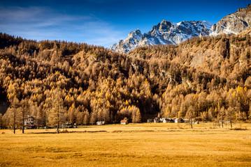 beautiful mountain village - autumn season