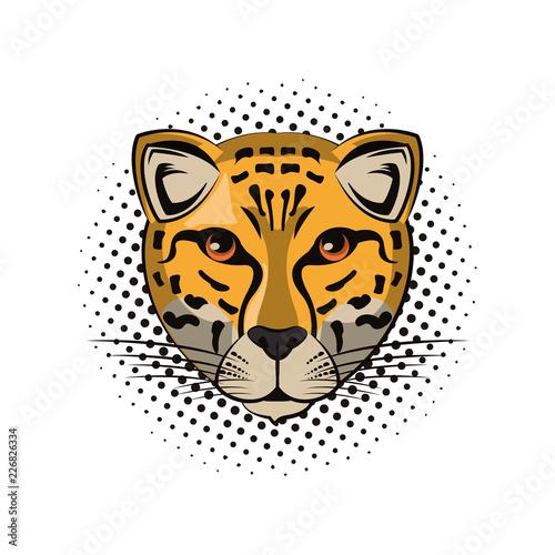 Fototapeta Leopard face cool sketch