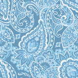 Paisley ethnic seamless pattern with floral elements.