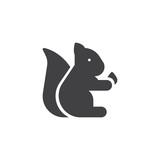 Pet Squirrel with nut vector icon. filled flat sign for mobile concept and web design. Animal simple solid icon. Symbol, logo illustration. Pixel perfect vector graphics