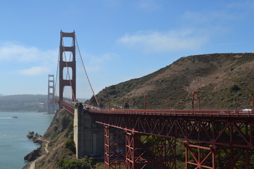 Golden gate bridge, tower structure, San Francisco, suspension, steel, landmark, USA, poster, print, California, road bridge, travel, sky.