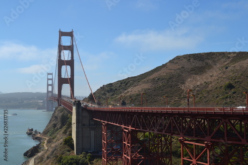 Golden gate bridge, tower structure, San Francisco,  suspension, steel, landmark, USA, poster, print, California, road bridge, travel, sky.