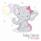 baby shower girl. Cute elephant with balloons.
