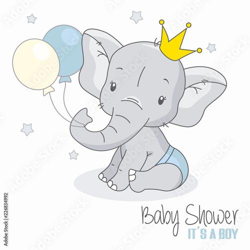 fototapeta na ścianę baby shower boy. Cute elephant with balloons.