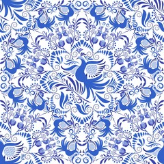 Seamless Blue and white pattern. Background of circular ornaments with birds and flowers. Design in the style of folk painting on porcelain.