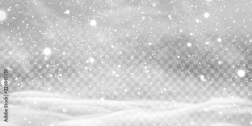 Falling Christmas Shining transparent beautiful, little snow with snowdrifts isolated on transparent background. Snowflakes, snow background. Heavy snowfall, snowflakes in different shapes and forms.