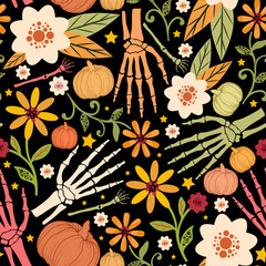 Halloween floral seamless pattern with bones,pumpkins,flowers and stars.Holiday vector background.Textile texture © julyjul