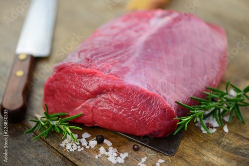 Leinwanddruck Bild Fleisch Kräuter