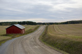 Dirt road in the countryside on a cloudy day. Red barn on side of the road. - 226858545