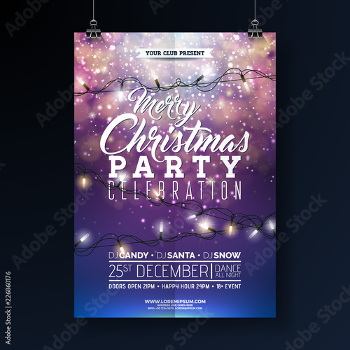 Christmas Party Flyer Illustration with Lights Garland and Typography Lettering on Shiny Blue Background. Vector Holiday Celebration Poster Design Template for Invitation or Banner.