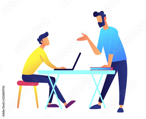 Teacher giving a lecture and student with laptop at desk vector illustration.