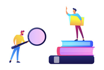 Student with magnifier and student standing on stack of books vector illustration. © VIGE.co