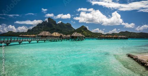 Fototapeten Strand Bora Bora Tropical huts