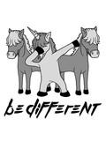 text anders be different team crew party dabbing unicorn dab pose tanz glücklich stehend einhorn pferd horn fabelwesen pony reiten gesicht kopf mädchen comic cartoon clipart