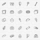 Bakery line icon set with taco, bake roll and cake