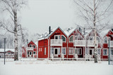Red townhouses in Finland - 226887529