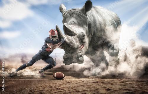 Brave American football player facing a big rhino