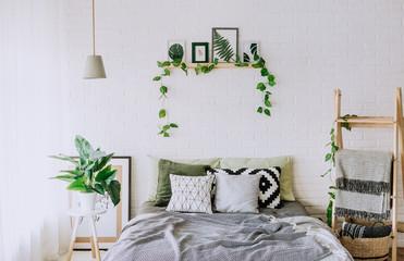 bedroom interior rustic loft bed blankets decor